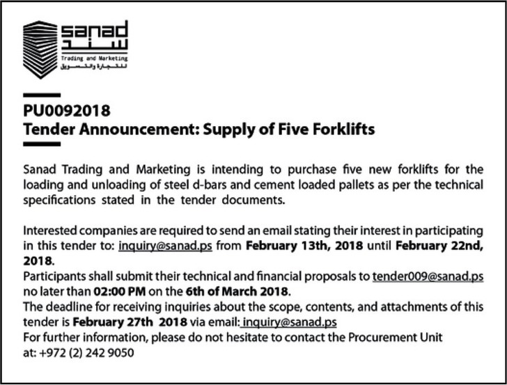 supply of five forklifts