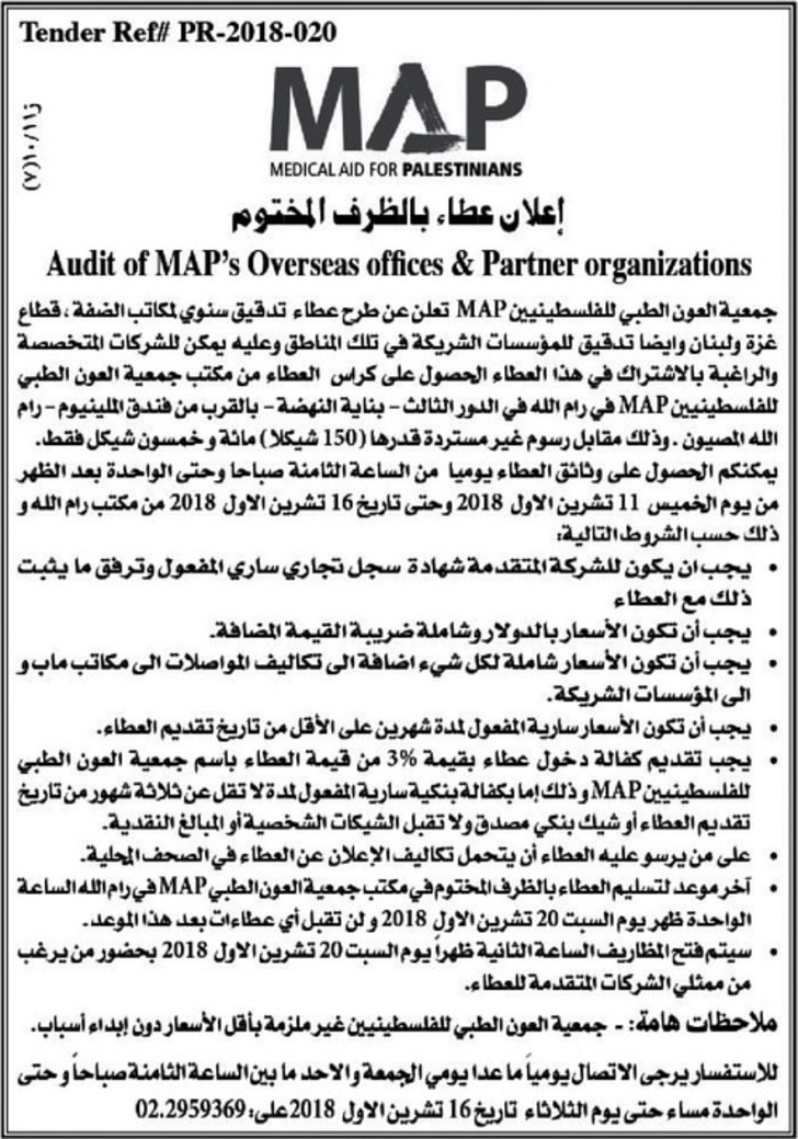 Audit of map's overseas offices & partner organizations