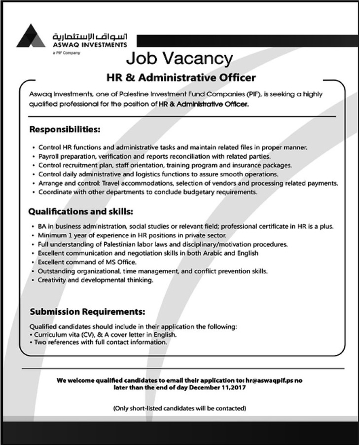 HR and Administrative officer